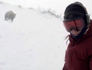 La discesa da brividi nella stazione sciistica giapponese: l'orso insegue la snowboarder (VIDEO)