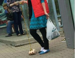Una ragazza porta a spasso una carcassa di pollo (FOTO, VIDEO) / Facendo ridere la cittadinanza