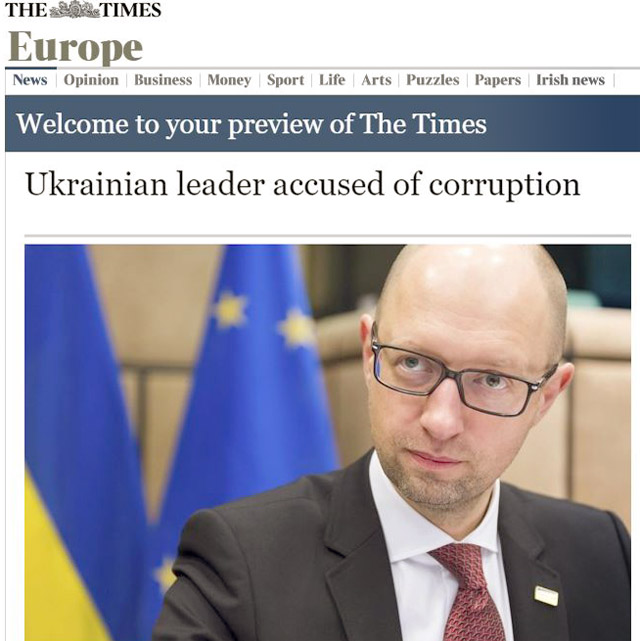 New Day: The Times: il premier ucraino Arseniy Yatseniuk accusato di corruzione (FOTO)